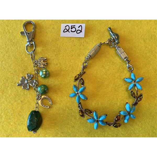 SILVER JEWELRY - BRACELET & CHARMS WITH BLUE & GREEN STONES