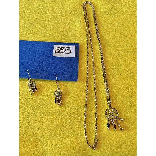DREAM CATCHER NECKLACE & EARRINGS - 10 K - 24 INCH CHAIN