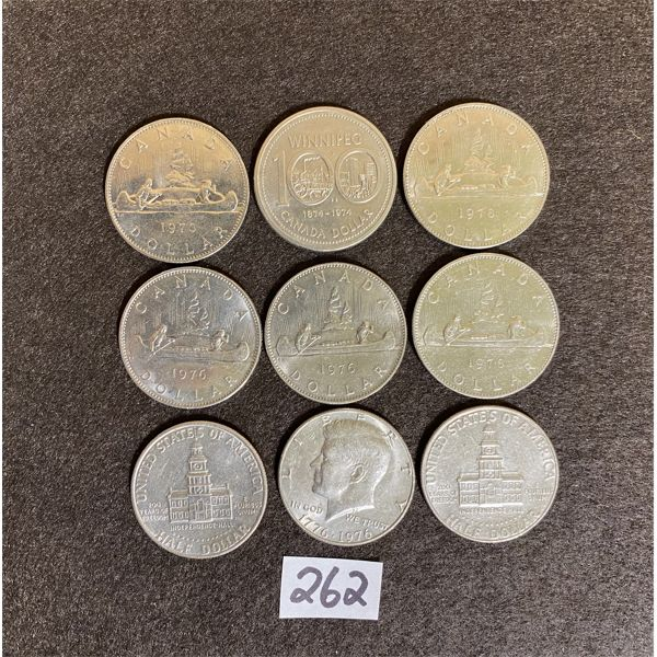 LOT OF 9 CANADA AND US $1 COINS