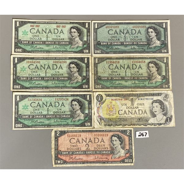 LOT OF CANADIAN $1 AND $2 BILLS