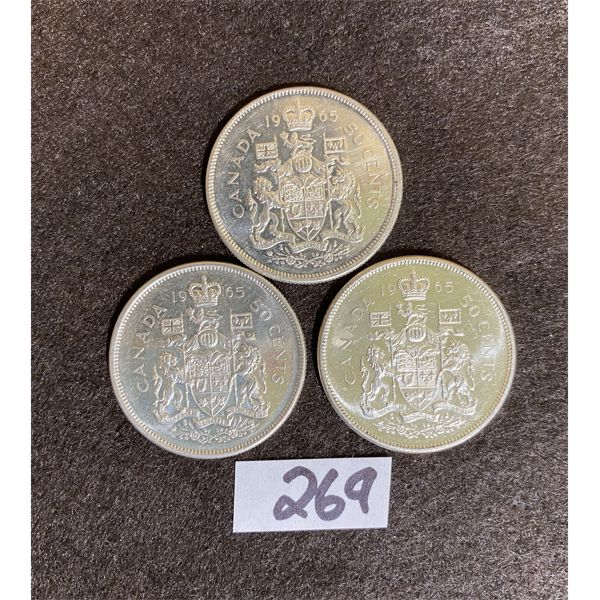 LOT OF THREE CANADIAN 1965 SILVER 50 CENT PIECES