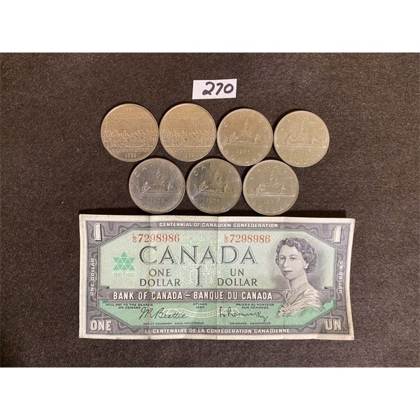 LOT OF 7 $1 CANADIAN COINS AND $1 BILL