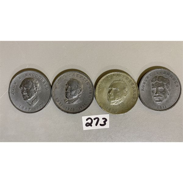 LOT OF 4 CANADA HOUSE OF COMMONS TOKENS