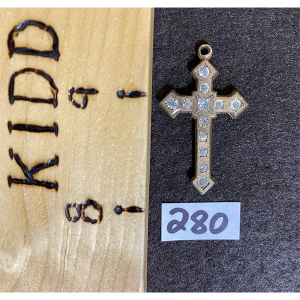 ANTIQUE GOLD AND CRYSTAL CROSS