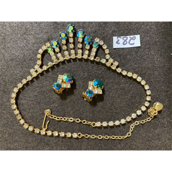 SET OF VINTAGE BLUE / CLEAR RHINESTONE NECKLACE AND EARRINGS