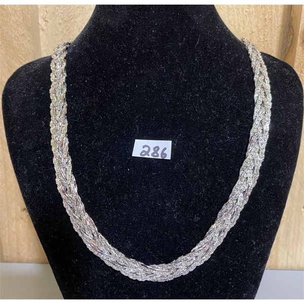 HEAVY SILVER BRAIDED CHAIN COSTUME JEWELRY NECKLACE