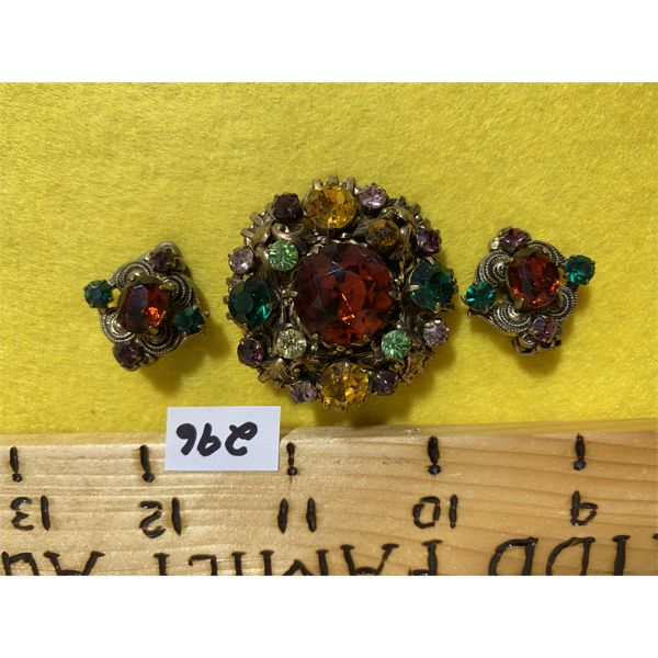 ANTIQUE STONE BROOCH AND EARRING SET