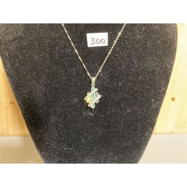 925 SILVER NECKLACE WITH PERIDOT AND AQUAMARINE STONES