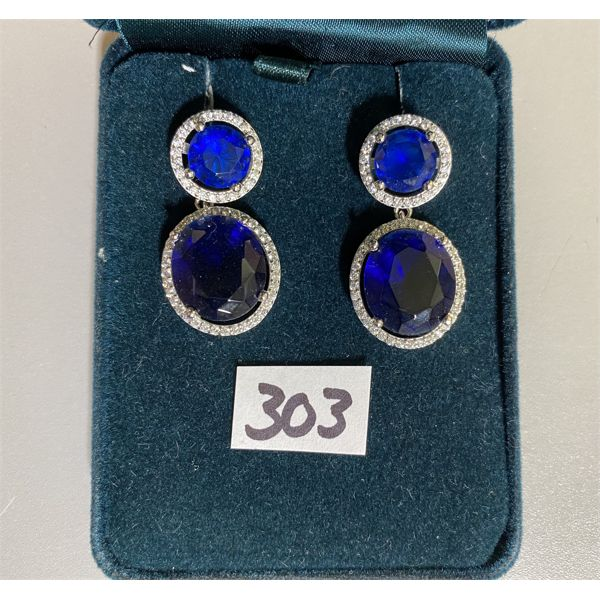 925 SILVER EARRINGS SET WITH SAPPHIRES AND CRYSTALS