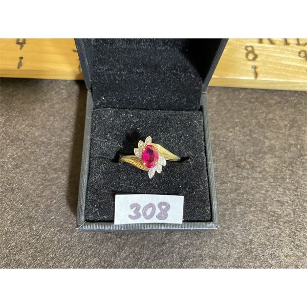 10 K GOLD AND RUBY RING - SZ 8