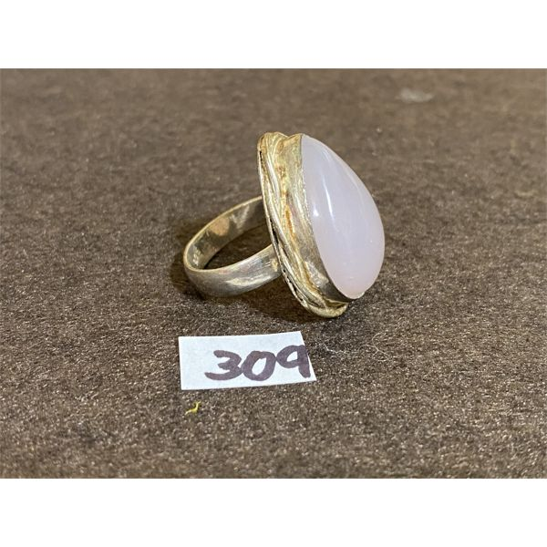 SILVER AND GEMSTONE RING - SZ 7