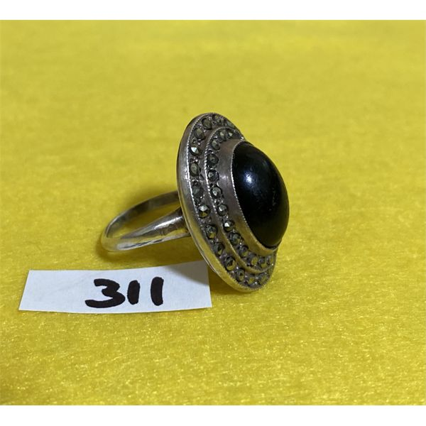 STERLING RING SET WITH BLACK ONYX & MARCASITE - SZ 7