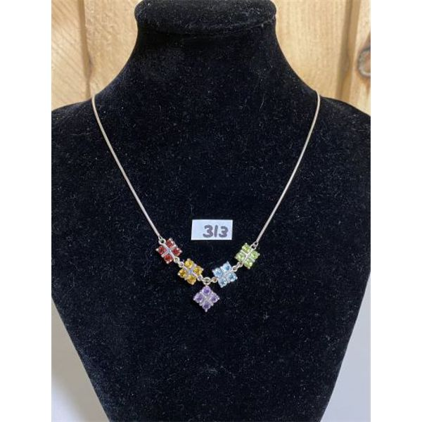 SILVER AND GEMSTONE NECKLACE