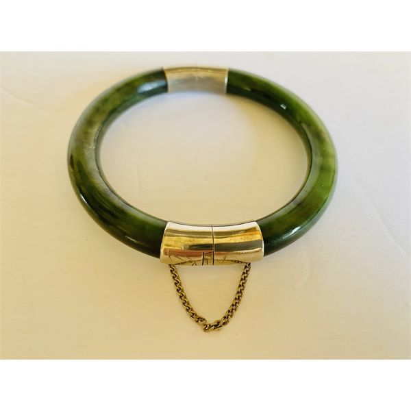 CHINESE - SPINACH JADE AND SILVER BRACELET - 7.5 INCH DIAMETER
