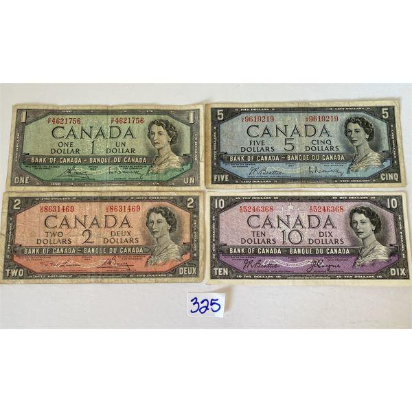 LOT OF 4 - 1954 CND BILLS - $1 / $2 / $5 / $10