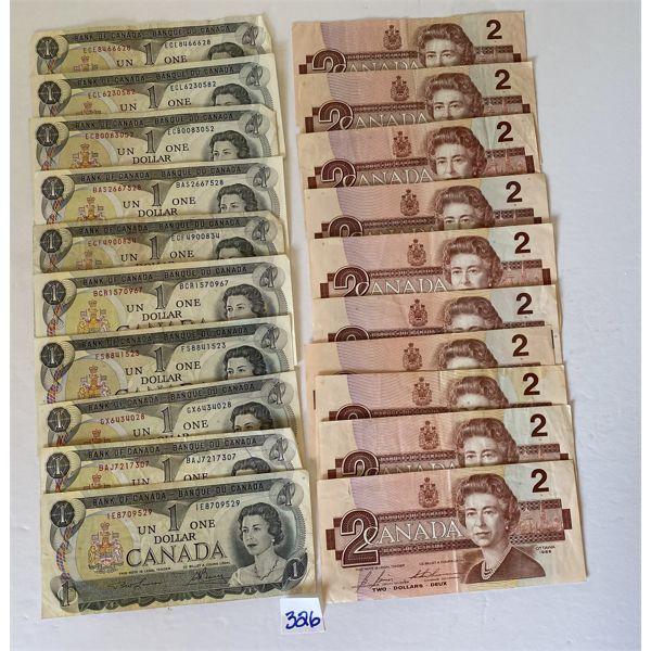 LOT OF 10 ONE DOLLAR 1973 CND BILLS & 10 TWO DOLLAR 1986 CND BILLS