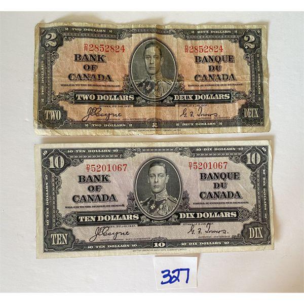 LOT OF 2 1937 KING GEORGE BILLS - $2 & $10