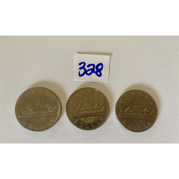 LOT OF 3 CND SILVER DOLLARS - 1968, 1969, 1972