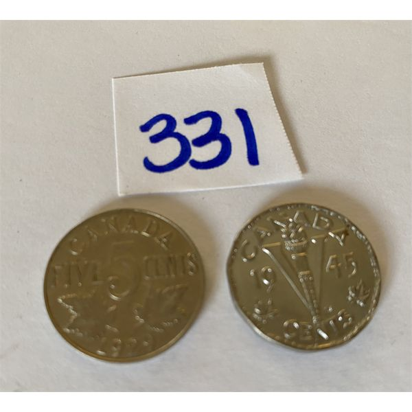 LOT OF 2 CND 5 CENT COINS - 1929 & 1945