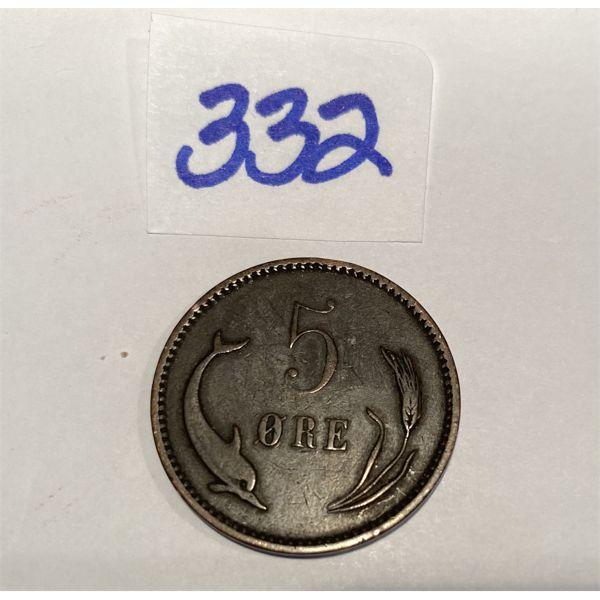 1894 DENMARK 5 ORE COIN