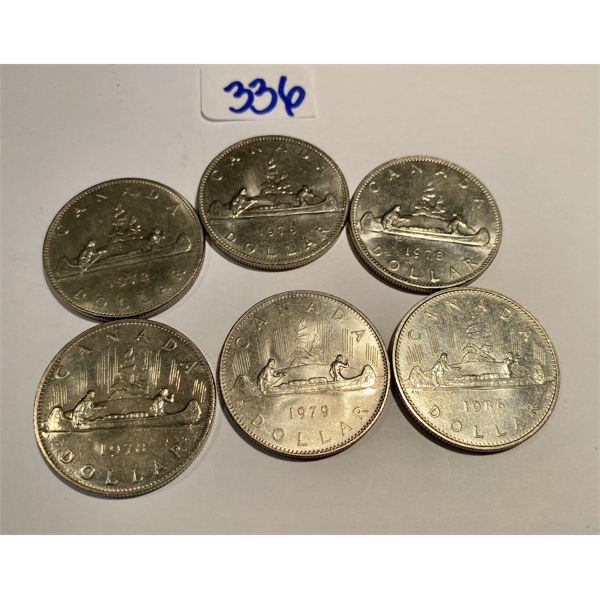 LOT OF 6 CND SILVER DOLLARS - 1972 TO 1986