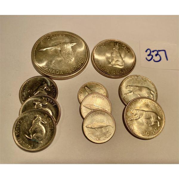 LOT OF CND SILVER CENTENNIAL COINS