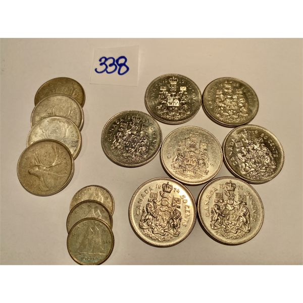 LOT OF 7 CND 50 CENT COIN & 7 CND SILVER COINS