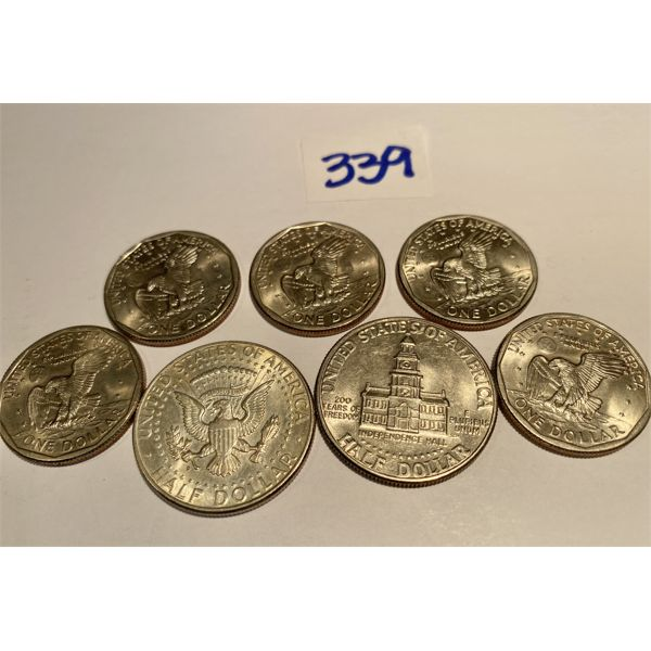 LOT OF 7 USA COINS - 5 X 1979 BETSY ROSS DOLLARS & 1964 SILVER 50 CENTS & 1976 50 CENTS