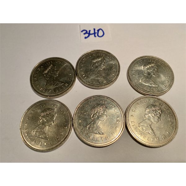LOT OF 6 1982 CND CONSTITUTION SILVER DOLLARS