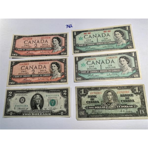 LOT OF COLLECTIBLE CND BILLS