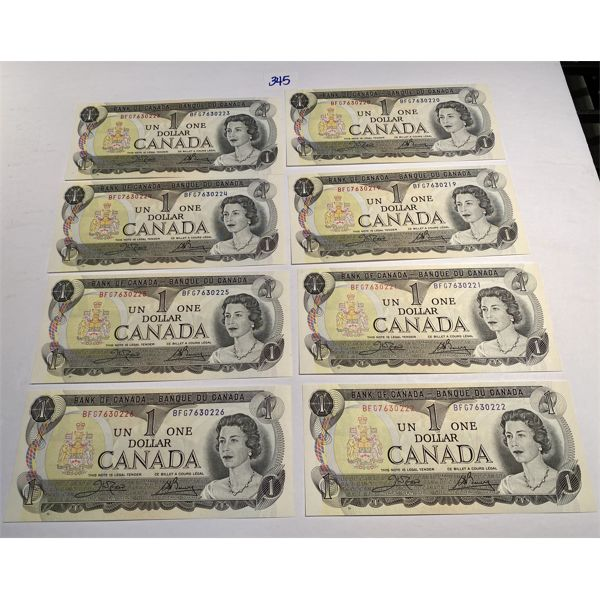 LOT OF 8 - 1973 CONSECUTIVE UNCIRCULATED ONE DOLLAR BILLS
