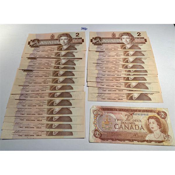 LOT OF 24 - CND TWO DOLLAR BILLS