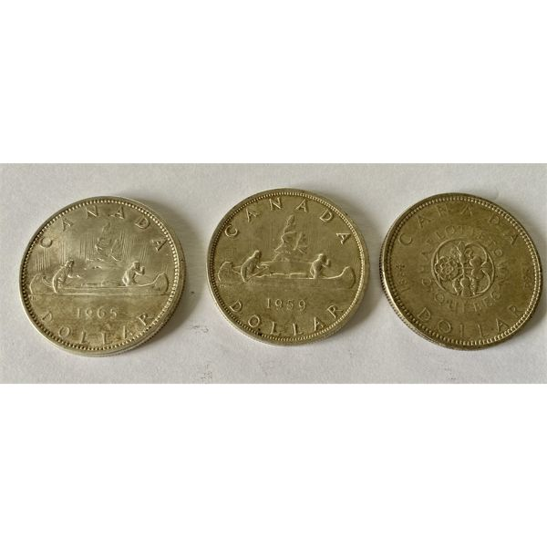 LOT OF 3 CND SILVER DOLLARS - 1959 / 1964 / 1965