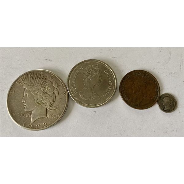 LOT OF 4 COINS - US 1923 LIBERTY SILVER $, CND 1973 PEI $, NFL 1919 PENNY, BRIT 1862 1 1/2 CENTS