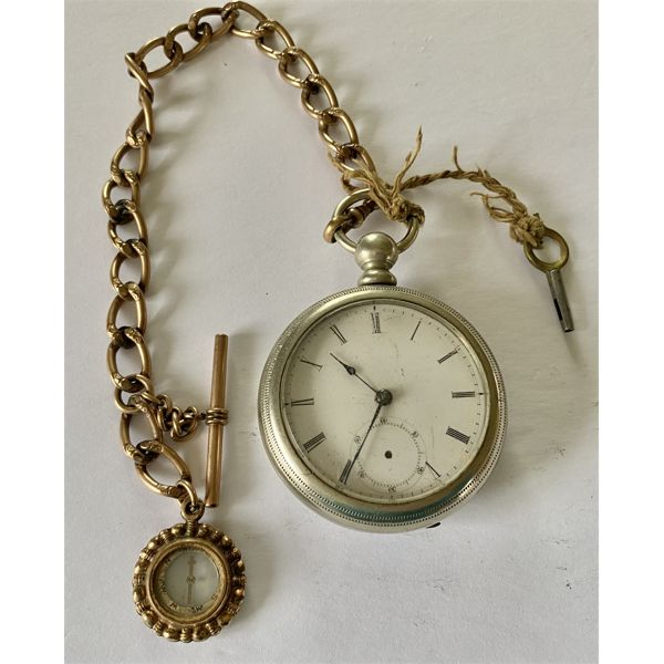 POCKET WATCH WITH CHAIN & COMPASS