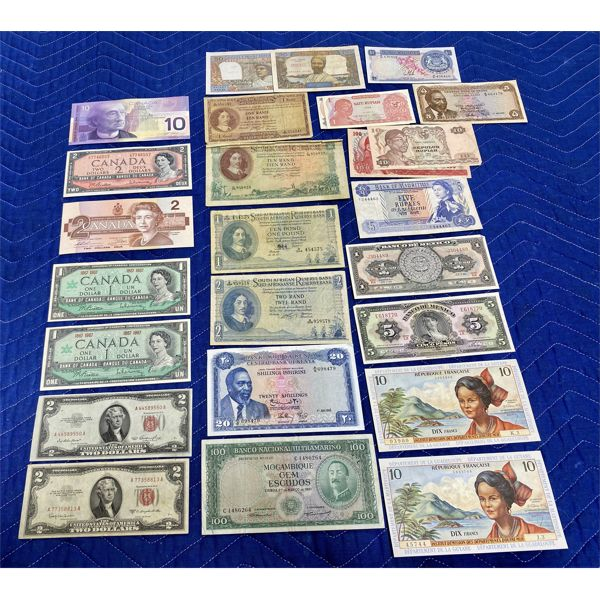 LARGE QTY OF BILLS FROM MISC COUNTRIES - MEXICO, SOUTH AFRICA, US, CND, ETC.