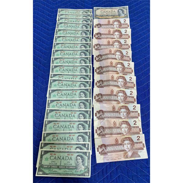 QTY OF CND CENTENNIAL UNCIRCULATED 1$ BILLS - $1, $2, $50