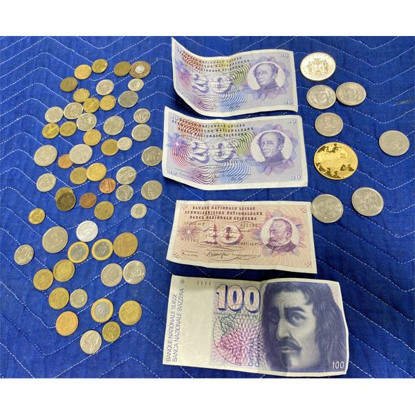 QTY OF CURRENCY FROM MULTIPLE COUNTRIES - INCLUDES SWISS FRANCS