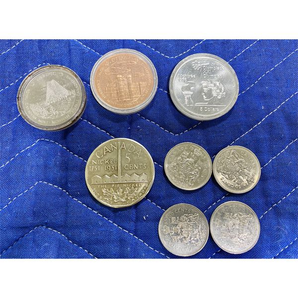 LOT OF MISC COINS INCLUDING MONTREAL OLYMPICS 5 DOLLAR SILVER COIN - 1976