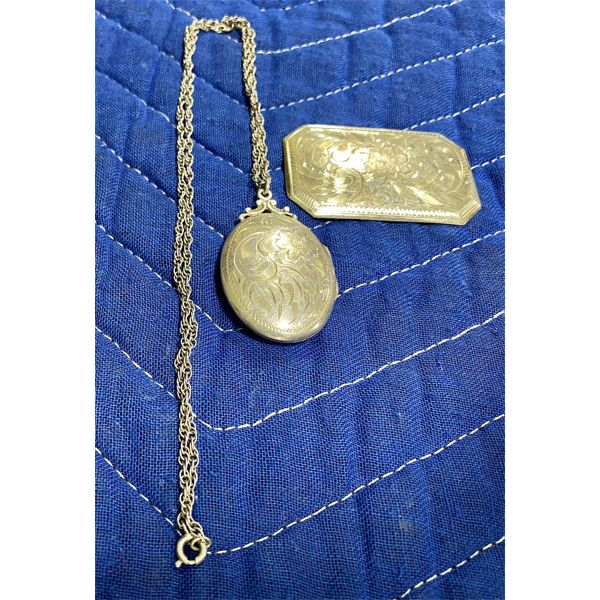 2 PIECES OF STERLING SILVER - LOCKET & BROACH - DATED 1964