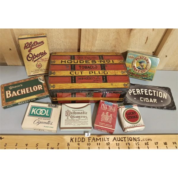 LOT OF 8 TOBACCO TINS, BOXES, ADVERTISING
