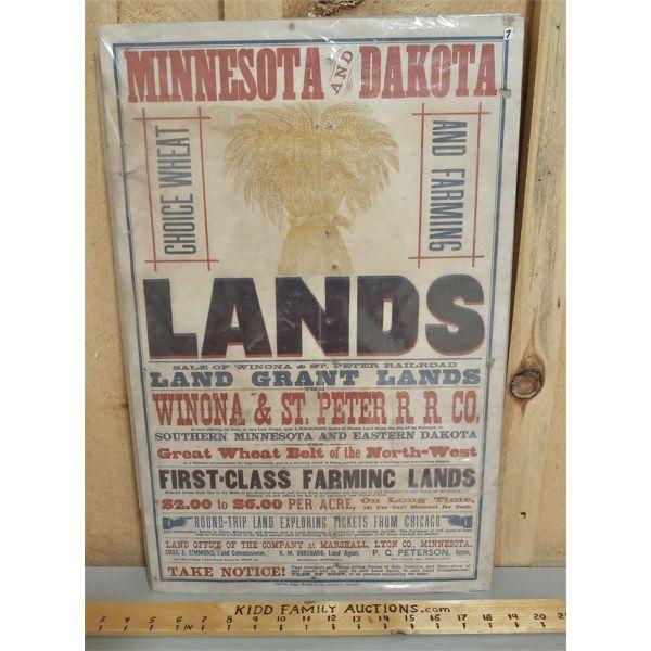 FARM LAND SALE PAPER BILLET 14 X 22 INCHES
