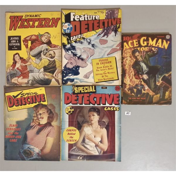 LOT OF 5 DETICTIVE AND WESTERN STORIES