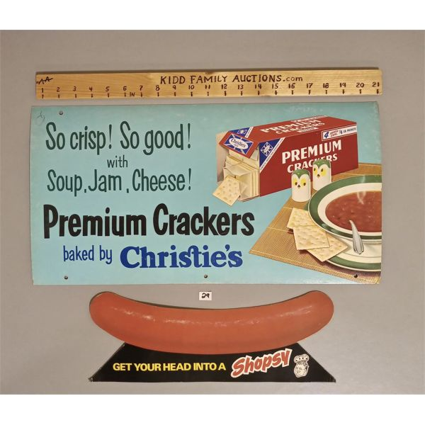 LOT OF TWO ADS -  CHRISTIES CRACKERS AND SHOPSY HOTDOG