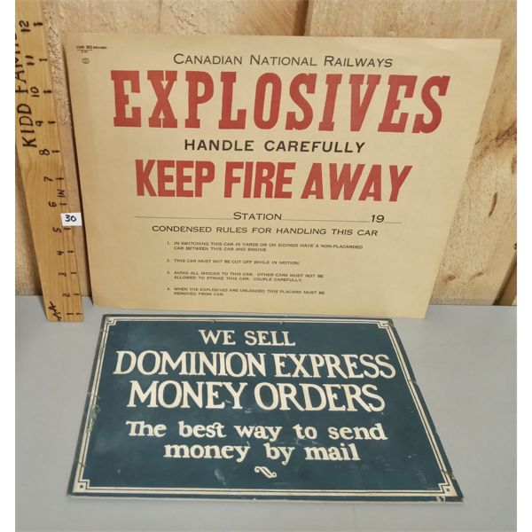 LOT OF 2 - CARDBOARD DOMINION EXPRESS AND PAPER CNR EXPLOSIVES