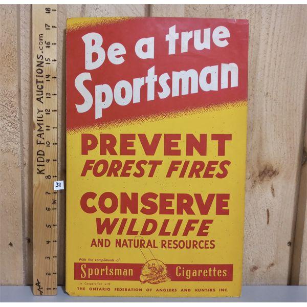 SPORTSMAN CIGARETTES CONSERVATION AD