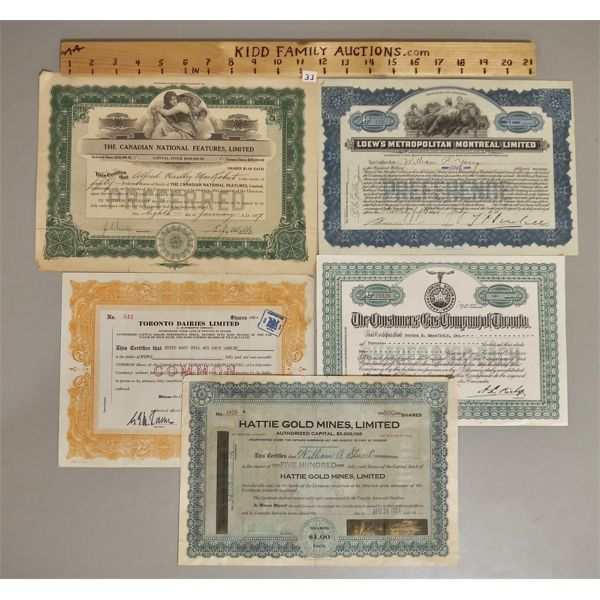 LOT OF 5 STOCK CERTIFICATES