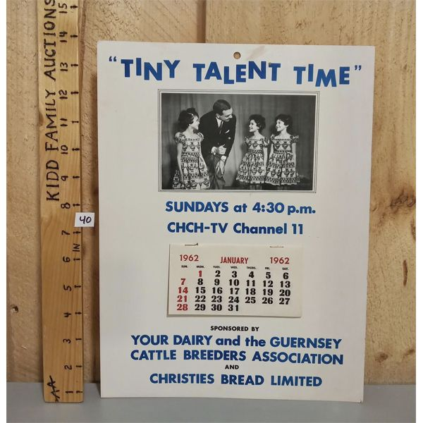 TINY TALENT TIME CHCH-TV 1962 CALENDAR