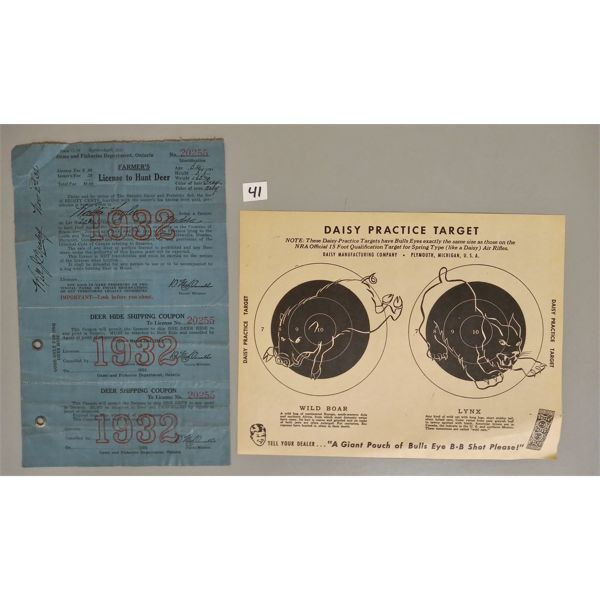 LOT OF 2 - 1932 DEER HUNTING LICENSE, DAISY PRACTICE TARGET