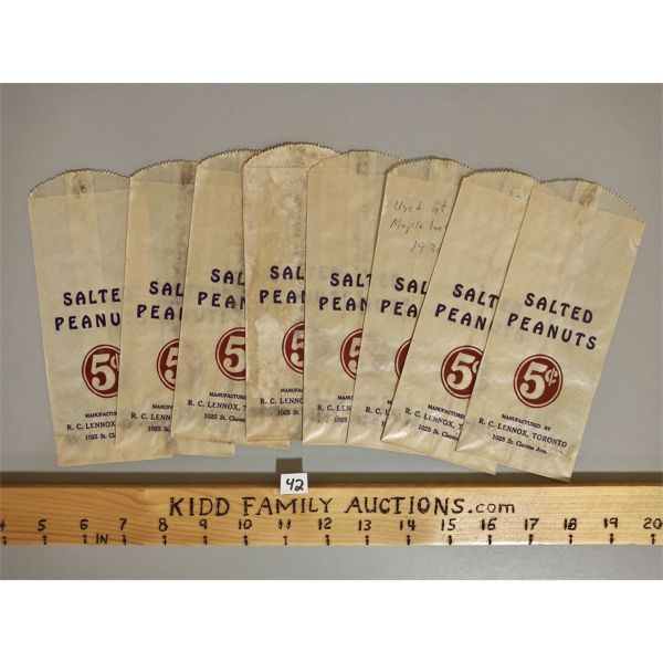 LOT OF 10 - 5 CENT SALTED PEANUT BAGS